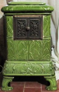 An elegant 19th century ceramic tile stove.