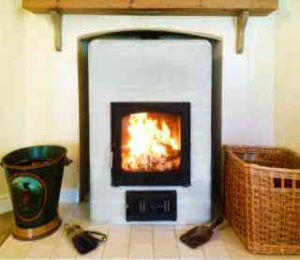 A Cornish Masonry Stove installed in Wiltshire.