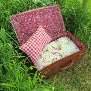 A pet bed made from a recycled suitcase from The Sherbert Patch at Etsy.